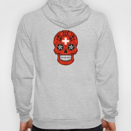 Sugar Skull with Roses and Flag of Switzerland Hoody