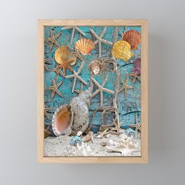 Tropical Shells on Beach House Wall Framed Mini Art Print