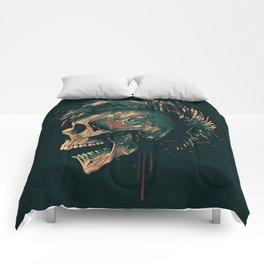 Dark skull illustration Comforters