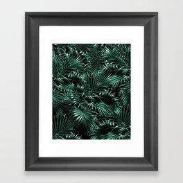Tropical Palm Leaf Jungle Night #1 #tropical #decor #art #society6 Framed Art Print