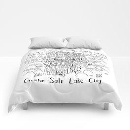 Salt Lake City Illustrated Map Comforters