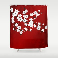 Red Black And White Cherry Blossoms Shower Curtain