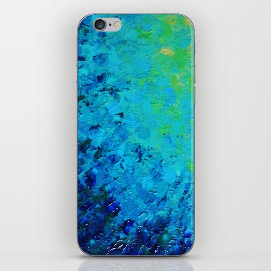 TRUE REFLECTION - Ocean Water Waves Ripple Light Impressionist Bright Colors Ombre Painting iPhone & iPod Skin
