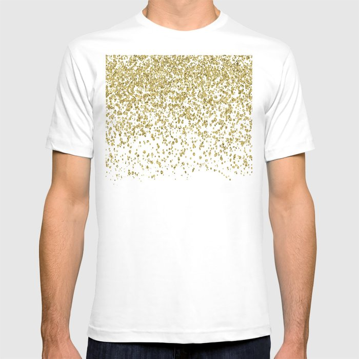 2906481cfdb Sparkling gold glitter confetti on simple white background - Pattern T-shirt