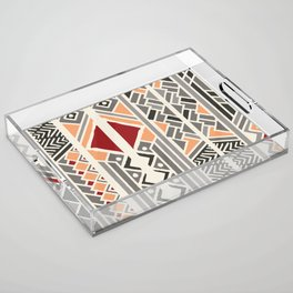 Tribal ethnic geometric pattern 034 Acrylic Tray