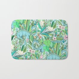 Improbable Botanical with Dinosaurs - soft pastels Bath Mat