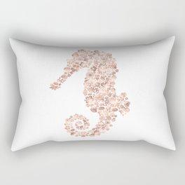 Floral Rose Gold Sea Horse Rectangular Pillow