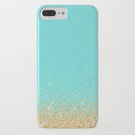 Sparkling gold glitter confetti on aqua teal damask background iPhone Case