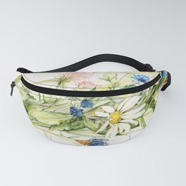 Bouquet of Wildflowers Original Colored Pencil Drawing Fanny Pack