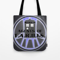 agents of shield Tote Bags featuring Agents of TARDIS Doctor Who Agents of Shield Mash Up by Whimsy and Nonsense