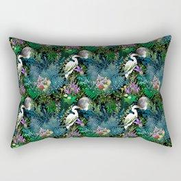 Egret In A Bog Garden Under A Full Moon Rectangular Pillow