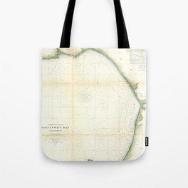 Vintage Map of Monterey Bay California (1857) Tote Bag