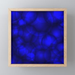 Glowing blue soap circles and volume sea bubbles of air and water. Framed Mini Art Print
