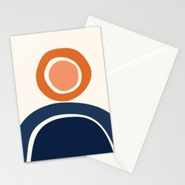 Abstract Shapes 12 in Burnt Orange and Navy Blue (Rainbow and Sunshine) Stationery Cards