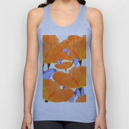 Poppies And Butterflies White Background #decor #society6 #buyart Unisex Tank Top