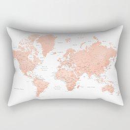 """Rose gold world map with cities, """"Hadi"""" Rectangular Pillow"""