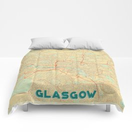 Glasgow Map Retro Comforters