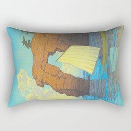 Kawase Hasui Natural Rock Arch w  Sailing Boat at Sea, Kawase Hasui, Japanese Woodblock Print  1937 Rectangular Pillow