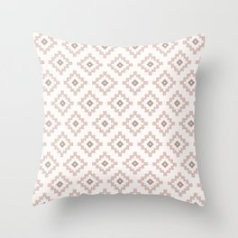 Beige Aztec Pattern  Throw Pillow