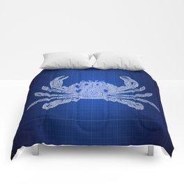 Nautical Crab, Blueprint Art, Coastal art, Patent of Crab, Crab Blueprint Comforters