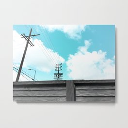 electric pole with wooden wall and blue cloudy sky in the city Metal Print