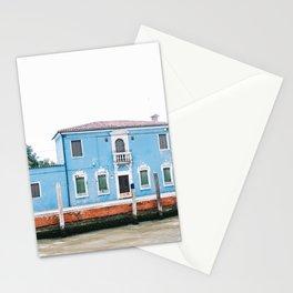 blue house   Italy   Venice   Burano   travel photography Stationery Cards