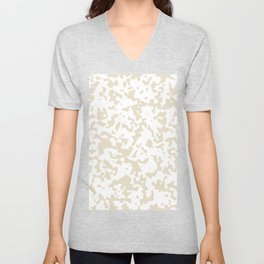 Spots - White and Pearl Brown Unisex V-Neck