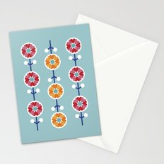 Scandinavian inspired flower pattern - blue background Stationery Cards