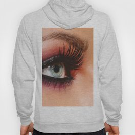 Cosmetics & make-up. Close up woman eye with beautiful shades smokey eyes makeup. Modern fashion Hoody