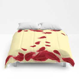LAZY RED FEATHERS FLOATING DOWN ART Comforters