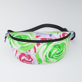 colorful rose pattern abstract in pink green blue Fanny Pack