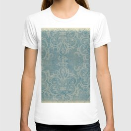 Antique rustic teal damask fabric T-shirt