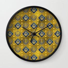 Gold and Lapis Lazuli Khanda symbol pattern Wall Clock