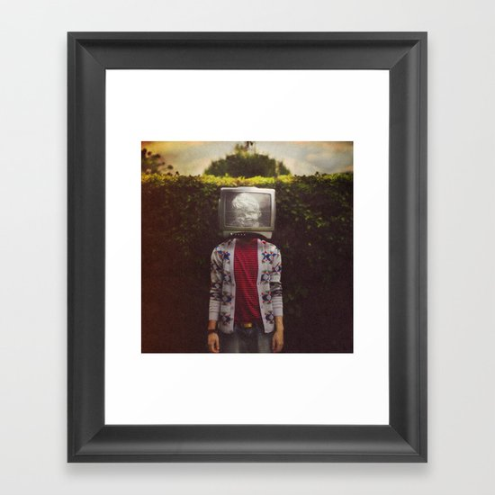 This TV haze sucks me through. I watch the world from the inside Framed Art Print
