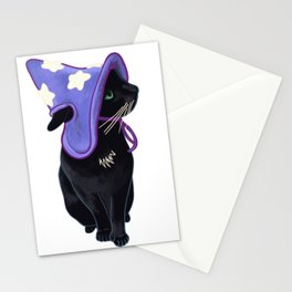Lucky Black Cat Familiar Purple Witch Costume Halloween Pet Portrait Stationery Cards