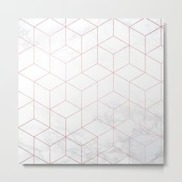 Rose Gold Geometric White Mable Cubes Metal Print