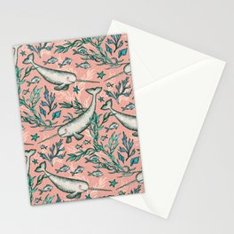 Narwhal Toile - peach pink Stationery Cards