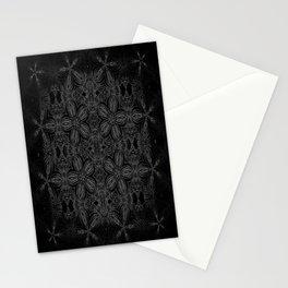 Black Slate Gray Floral Pattern Stationery Cards