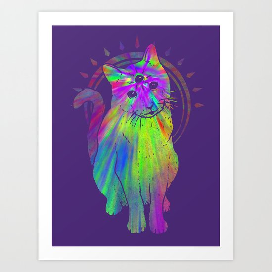 Psychedelic Psychic Cat Art Print