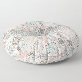 Moroccan Tile Pattern with Rose Gold Floor Pillow