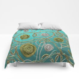 GOLD & SILVER ABSTRACT Comforters