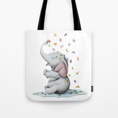 Elephant playing with letters Tote Bag