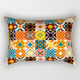 Maroccan tiles pattern with red an blue no2 Rectangular Pillow