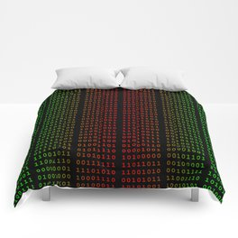 Binary Green and Red With Spaces Comforters