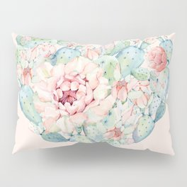 Cactus Rose Heart on Pink Pillow Sham