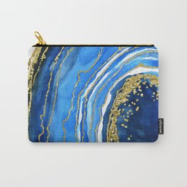 Cobalt blue and gold geode in watercolor (2) Carry-All Pouch