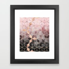 Pink And Grey Gradient Cubes Framed Art Print