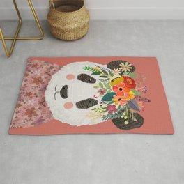 Cut Panda Bear with flower crown. Cute decor for kids Rug