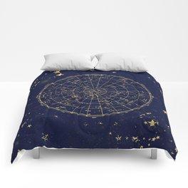 Metallic Gold Vintage Star Map 2 Comforters