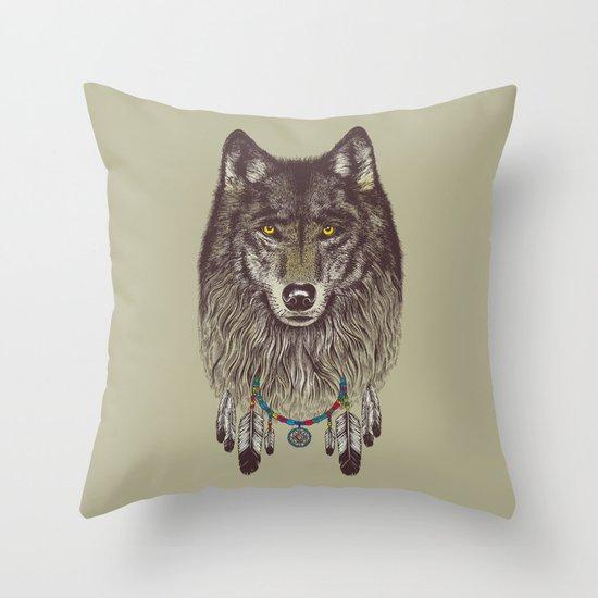 Wind Catcher Wolf Throw Pillow